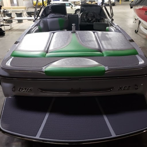 2011 Sanger Ski boat with new upholstery and swim step covered with Hydro turf at James Boat Repair Vacaville