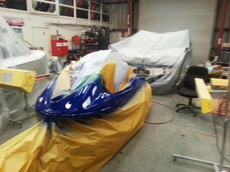 Jetski repair and repaint by James Boat and Fiberglass Repair, Vacaville, CA