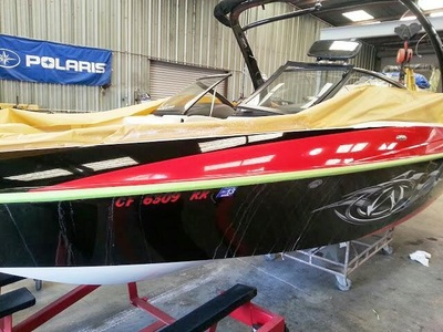This boat gets new color and looks new by James Boat and Fiberglass Repair, Vacaville, CA