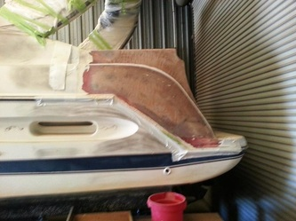 Repair begins on Maxum by James Boat and Fiberglass Repair, Vacaville, CA