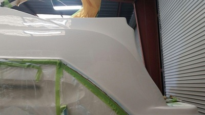 Maxum yacht gets a new smooth fiberglass finish by James Boat and Fiberglass Repair, Vacaville, CA