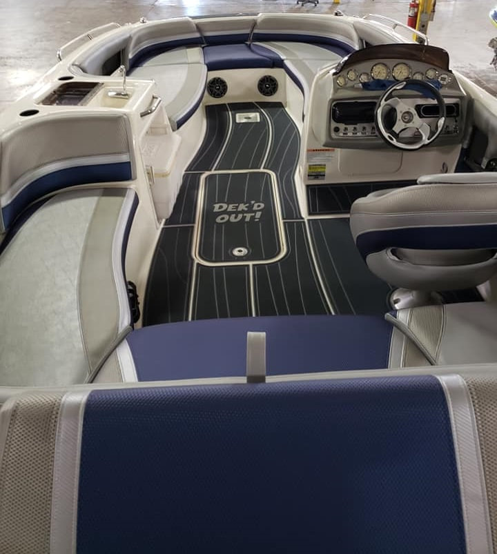 New flooring - sea deck - and upholstery for this deck boat by James Boat and Fiberglass Repair, Vacaville, CA
