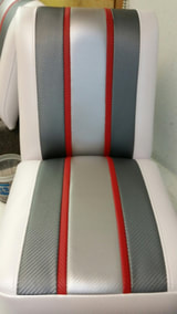 New Upholstery on Fabricated Jump Seat for Ski Boat