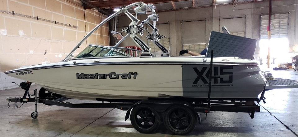 Same MasterCraft X45 after picture with new graphics, color.