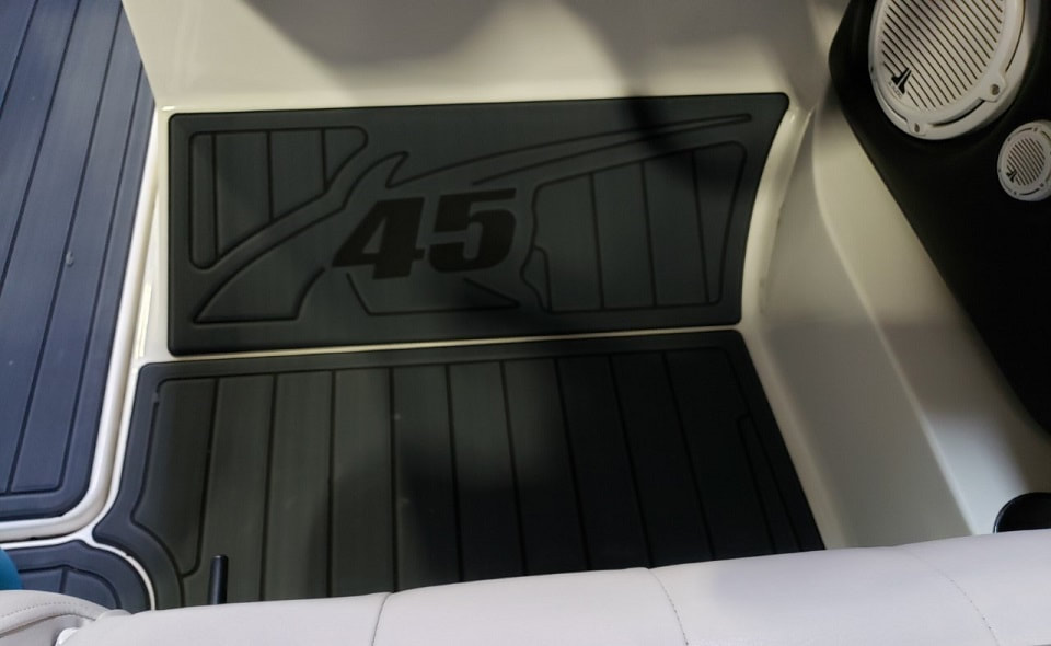 Branded flooring in cockpit area for driver on MasterCraft X45 by James Boat and Fiberglass Repair, Vacaville, CA