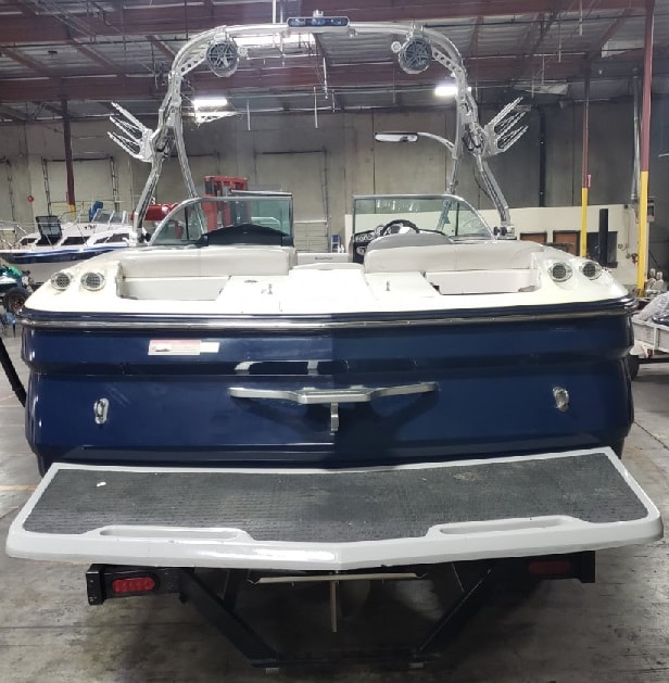 Before picture of MasterCraft X45 from rear including swim deck