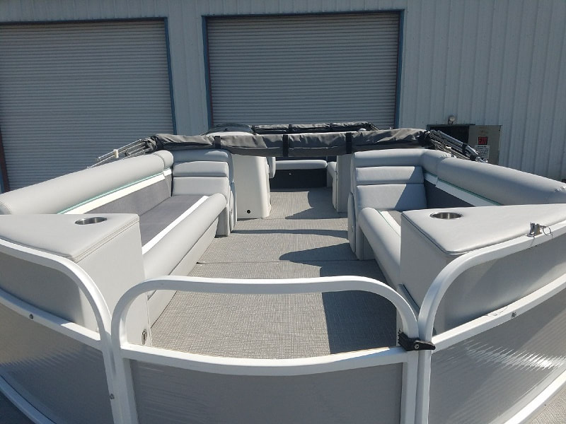 Finished remodel of tri hull pontoon boat by James Boat Repair, Dixon, CA
