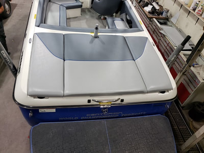 Rear deck view of new upholstery in this Ski Centurion done by James Boat Repair